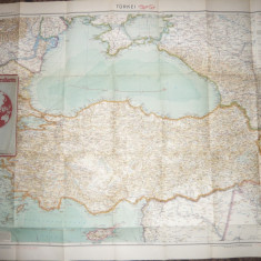Harta Turciei, partial Romania -Flemming Generalkarten, cca.1920, 1:2000 000