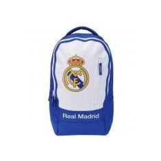 Ghiozdan Gimnaziu Real Madrid Alb cu Albastru si minge cadou