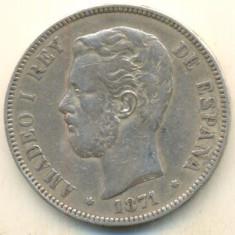 Spania 5 pesetas 1871- Ag 900 - 25g, Europa, An: 1970, Argint