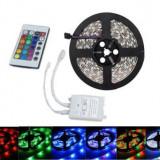Banda LED RGB 5M 3528 , Dublu Adeziv si Telecomanda