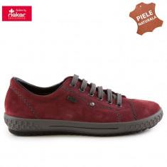Pantofi dama piele naturala RIEKER M6104-36 bordo velur (Marime: 36) - Pantof dama