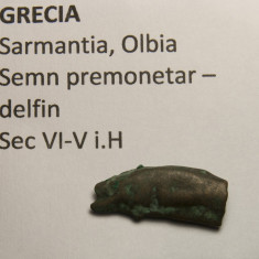 Semn premonetar - delfin Olbia sec. VI-V - Moneda Antica