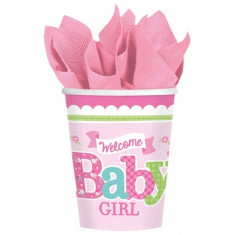 8 Pahare botez din carton 266ml Welcome Little One Girl - Decoratiuni botez