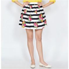 Fusta Raspberry dama. Model Flower Print Striped, Marime: 36, 38