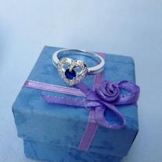 Inel dama argint 925 safir model Blue Heart - Inel argint