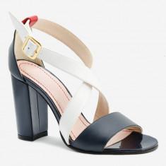 Sandale Dama. Model Piele Naturala Alba Neagra