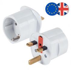 Adaptor priza EU la UK siguranta 13A cu impamantare - NOU - Adaptor interfata PC