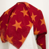 Esarfa mare, culoare rosu inchis cu stele portocalii - Esarfa, Sal Dama, Culoare: Din imagine, Marime: Marime universala
