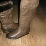 Cizme dama, Piele naturala - LICHIDARE STOC ! Superbe cizme NOI piele manusa imblanite platforma interna 37!