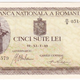 4.Bancnota 500 lei 19 XI 1940, UNC. filigran VERTICAL, An: 1940