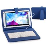 Husa tableta cu tastatura, 9 inch, Universal - Husa Tableta 9 Inch Cu Tastatura Micro Usb Model X, Albastru, Tip Mapa C15