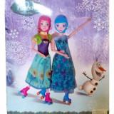 Set Frozen Ice Skating Anna si Elsa + Olaf - Papusa, 2-4 ani, Textil, Fata