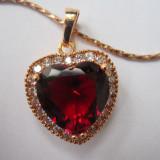 Lantisor aur, Femei - Lantisor cu Pandantiv inima cristale zirconiu filat Aur 9k