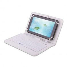 Husa tableta cu tastatura, 7 inch, Universal - Husa Tableta 7 Inch Cu Tastatura Micro Usb Model X, Alb, Tip Mapa C4
