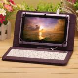 Husa tableta cu tastatura, 9 inch, Universal - Husa Tableta 9 Inch Cu Tastatura Micro Usb Model X, Mov, Tip Mapa C16