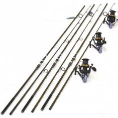 Lanseta, Lansete Crap, 3.9 m - Set 3 Lansete FL Pokee F1 Carp 3.90M Cu Mulinete Ultra Long Cast 15 rulm