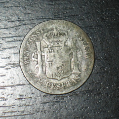 Moneda argint 2 pesetas Spania 1882, Alfonso XII, Europa