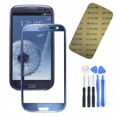Display LCD, Samsung Galaxy S3 - Sticla Display Fata Samsung Galaxy S3 i9300 ALBASTRU INCHIS + kit scule + folie