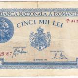 3)Bancnota 5000 lei 28 septembrie 1943 portret Traian+Decebal, An: 1943