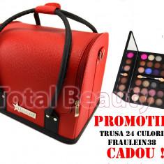 Geanta cosmetice - Geanta cosmetica Fraulein38 Germania Red & Black+ CADOU Trusa 24 Culori