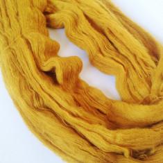 Ata - Fir de tricotat crosetat, fir tip mohair f moale si pufos galben mustar