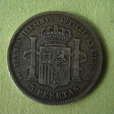 5 pesetas 1871 SPANIA - Argint, Europa