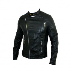 Geaca Zara Man Model David Beckham Jappan Boy SlimFit Cod Produs D365 - Geaca barbati Zara, Marime: L, XL, XXL, Culoare: Negru, Piele