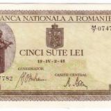 Bancnota 500 lei 2 IV 1941 filigran vertical XF/a.UNC (7), An: 1941