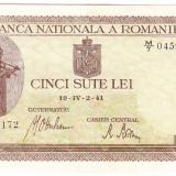 Bancnota 500 lei 2 IV 1941 filigran vertical XF/a.UNC (2), An: 1941