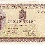 Bancnota 500 lei 2 IV 1941 filigran vertical XF (3), An: 1941