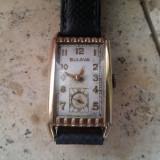 1940 BULOVA 7AP 21 jewels 10K Placat ART DECO CURVEX MADE IN USA