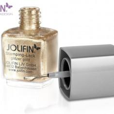 Oja speciala Jolifin pt matrita ce se aplica cu stampila, auriu sclipici 12 ml