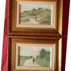 2 tablouri vechi, ulei pe lemn, semnate de pictorul Nicolae Petrescu Mogos
