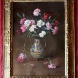 Cornel Ratiu (1882-1939) - Vas cu garoafe, ulei pe carton, lucrare superba - Pictor roman, Flori, Impresionism