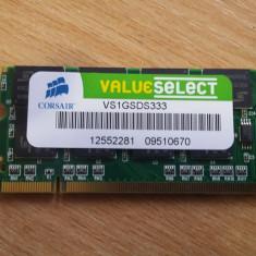Memorie RAM laptop Elpida, DDR, 1 GB, 333 mhz - Memorie Laptop Corsair Sodimm DDR1 1 GB 333 Mhz - VS1GSDS333