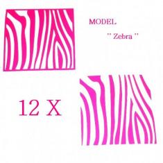 Unghii modele - Set 12 sabloane vinyl ''Zebra''