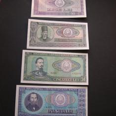 Bancnote Romanesti - Lot 10 + 25 + 50 + 100 lei 1966 UNC / aUNC #