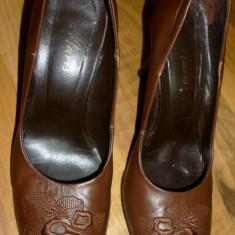 Pantofi piele dama MARIS 36 cred 36, 5 24 cm eleganti brodati transport inclus - Botine dama, Culoare: Maro