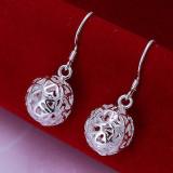 Cercei argint - Cercei din argint 925 in forma de sfera cu inimi + saculet cadou