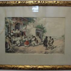 Gravura reproducere Hora de la Aninoasa, Theodor Aman; Tablou