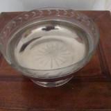Metal/Fonta - Fructiera rotunda cu sticla