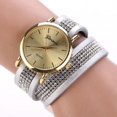 Ceas dama Geneva auriu bratara lucioasa cristale superb + cutie simpla cadou, Quartz, Metal necunoscut, Nou
