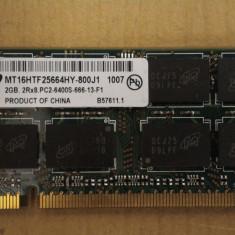 Ram Laptop Micron DDR2 2Gb PC2-6400S MT16HTF25664HY-800J1 - Memorie RAM laptop Micron, 800 mhz