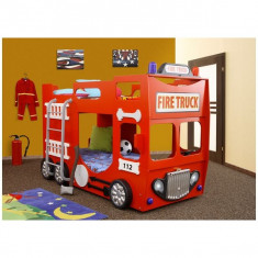 Pat supraetajat pentru copii, Alte dimensiuni - Pat etajat in forma de masina Pompieri