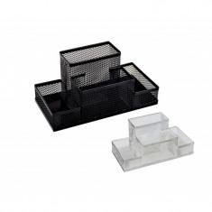 Suport din plasa metalica cu 4 compartimente pentru birou - Culoare: Argintiu (cod produs: DS-95004) - Masina de perforat