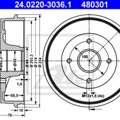 Tambur frana DACIA LOGAN 1.4 MPI LPG - ATE 24.0220-3036.1 - Saboti frana auto