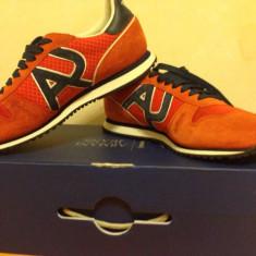 Pantofi sport Armani Jeans - Adidasi barbati, Marime: 42, Culoare: Corai, Piele intoarsa