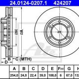 Disc frana MITSUBISHI COLT/RODEO 2.0 - ATE 24.0124-0207.1 - Discuri frana