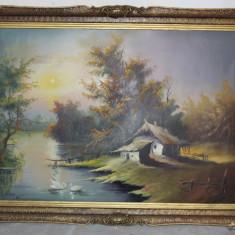 Pictura in ulei pe panza; Tablou semnat cu rama din lemn 107X78 cm - Tablou autor neidentificat, Peisaje, Altul