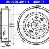 Tambur frana HONDA CONCERTO 1.5 i 16V - ATE 24.0220-3016.1